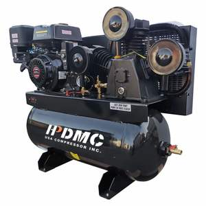 USA Single-Stage Gas-Powered Air Compressor 30-Gallon Horizontal Tank 43.5 CFM at 125 PSI