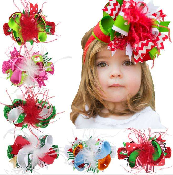 YIwu Christmas Elastic Crochet Headband Hairclip Dual Purpose Ribbon Bow And Feather Baby Girls Hair Accessories