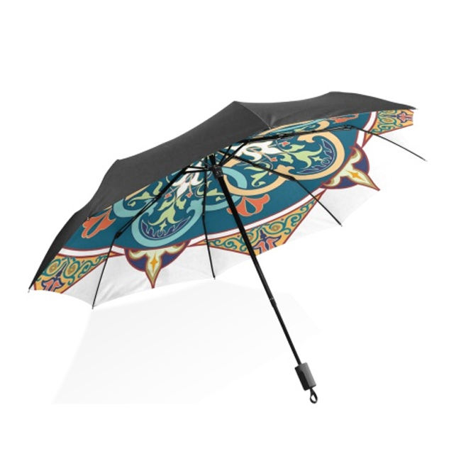 Self Stand Upside Down with C-Shaped Handle PYFXSALA Golden Flower Windproof Inverted Umbrella Double Layer UV Protection Folding Reverse Umbrella for Car Rain Outdoor