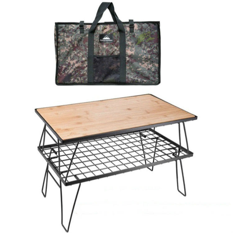 Camping Hiking Double Barbecue Bbq Grill Wire Mesh Net Rack With Wooden Boards And Packaging Bags