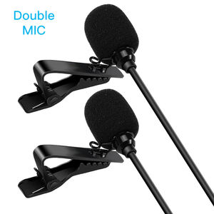 Professional Dual Clip-on Omnidirectional Condenser Mic Smartphone Lavalier Microphone for Bloggers and Vloggers