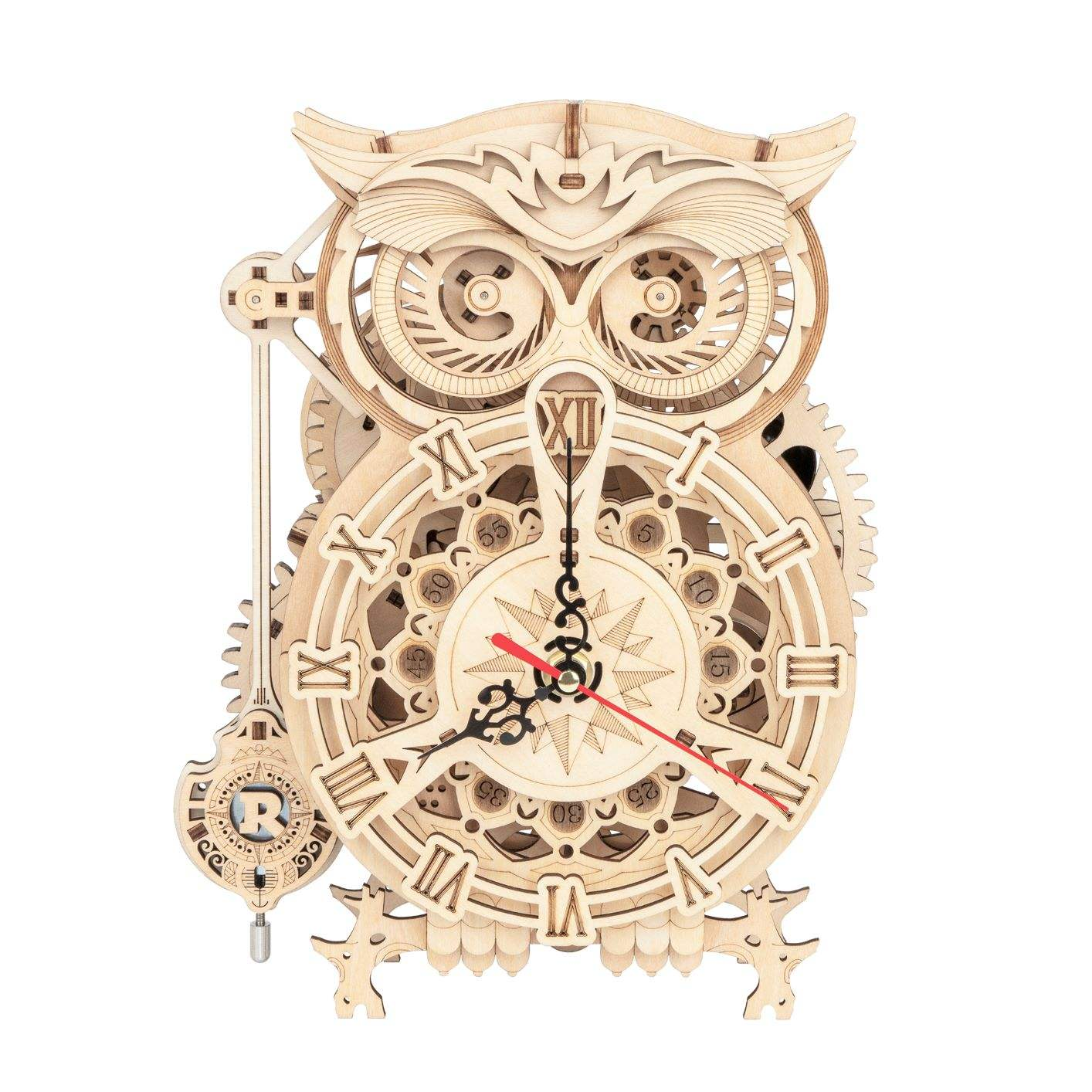 robotime 3d Wooden Puzzle Owl Clock DIY Mechanical Model Kits for Adults