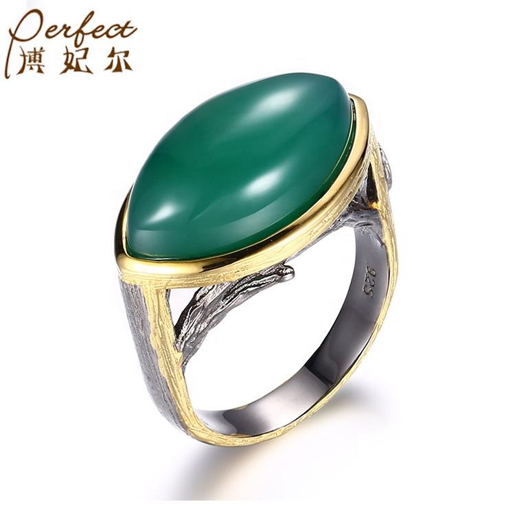 Wholesale Handmade Green Agate 925 Sterling Silver Jewelry Ring