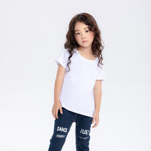 JHM YC3303 Oem China Factory Polyester Spandex Plain White Children T Shirt Design