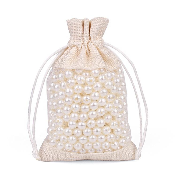 Cheap natural colored jute organza transparent sack bags for gift packaging