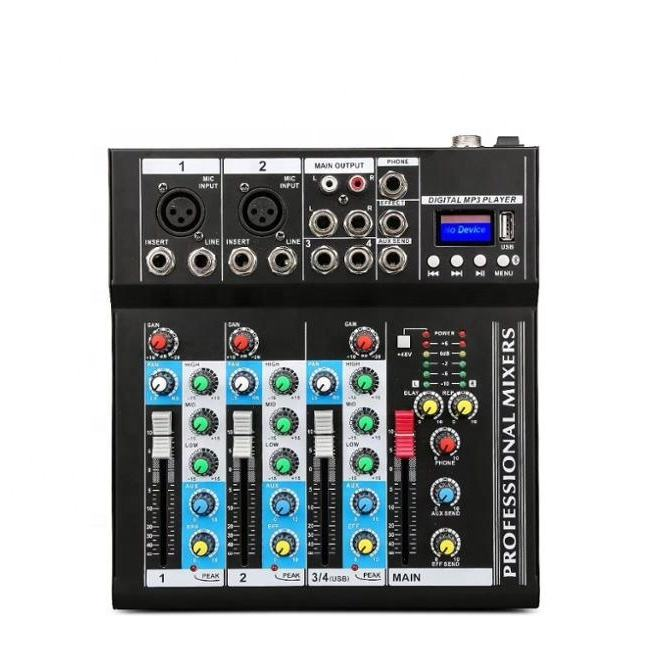Professional stage live studio Karaoke Mini Audio mixer USB sound mixing console DJ KTV Show 4 channels