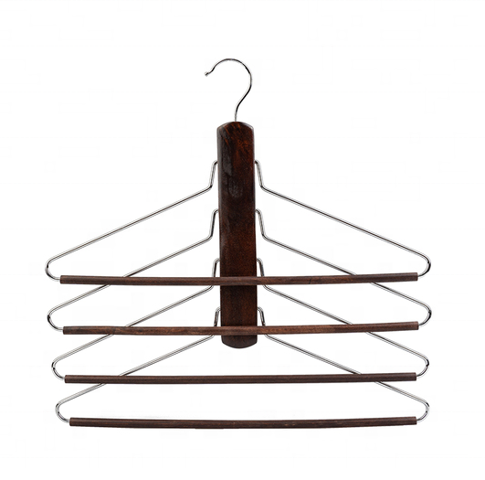 4 Tier Wood and Metal Clothes and Pants Hanger Rack with Anti Slip Bar Hang Heavy Garments Jeans Towels Vertical Hanging Space
