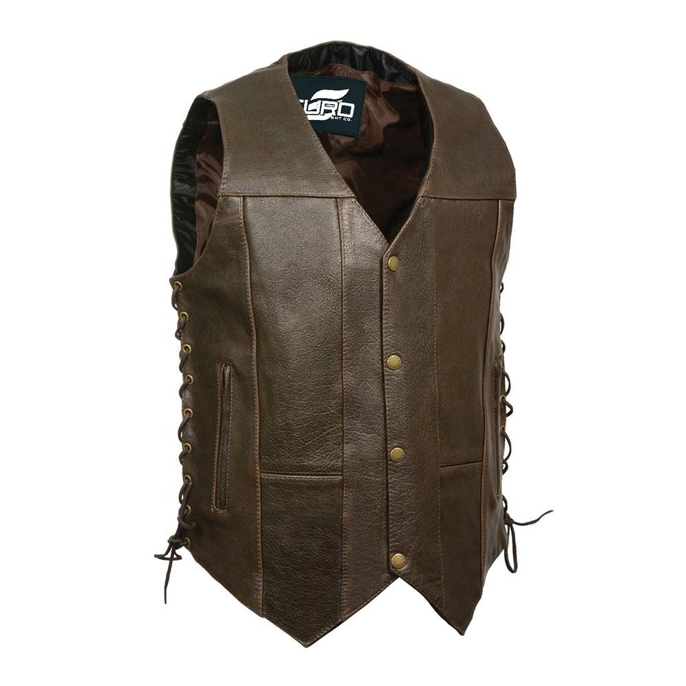 Genuine Leather sleeveless biker riding jacket waistcoat with Gun Pockets Full Solid Back
