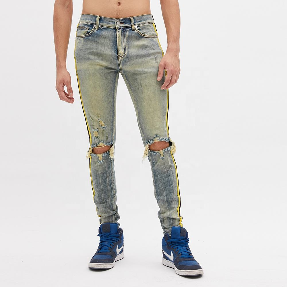 DiZNEW China Factory Custom Wholesale Side Stripe Denim Jeans Men