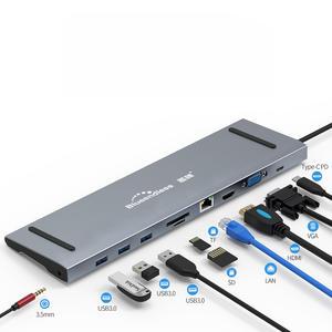 Blueendless aluminum usb hub card reader rj45+4KHD_MI type c pd hub 10 in 1 usb c hub