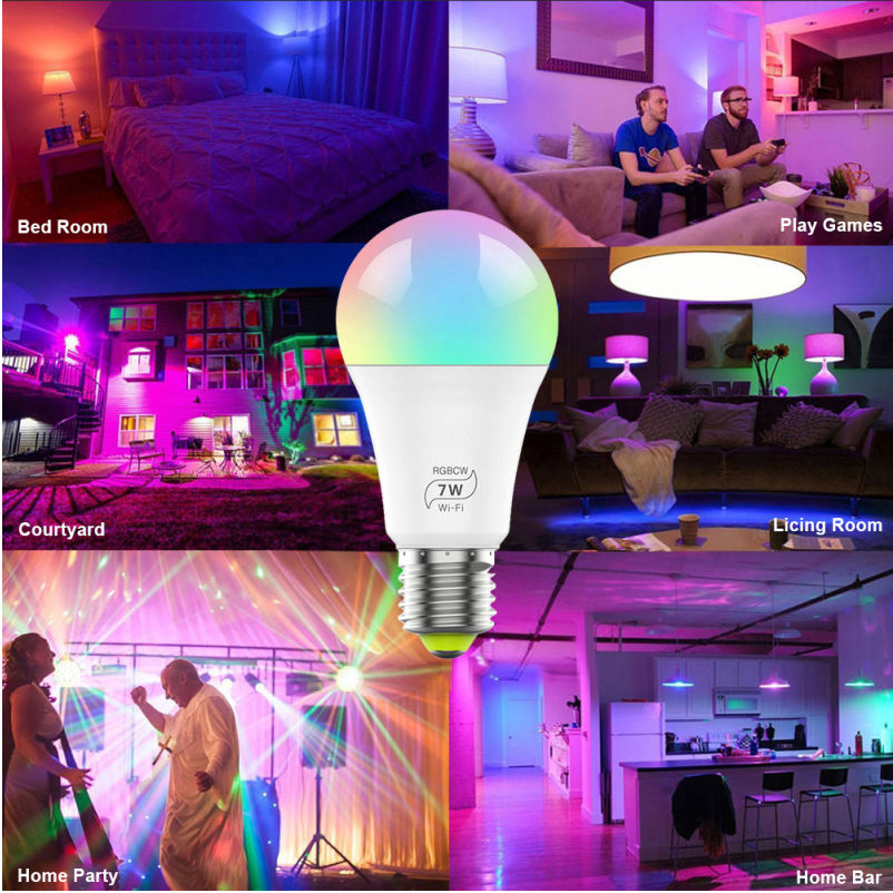 Led Global Bulb [ Smart Bulb ] Bulb Led Bulb RGBCW E27 9W Mini Wifi Alexa Smart Led Bulb Home Lights Led Bulb