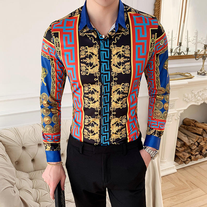 New Fashion Men Spring Autumn Korean Retro Printing Slim Button Lapel Long Sleeve Business Tops Blouse Casual Shirt