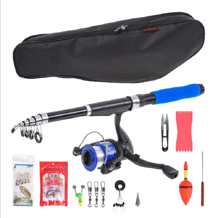 Spining Telescopic Fishing Rod and Reel Combo Kit Set with Line Lures Hooks Reel and Carry Bag