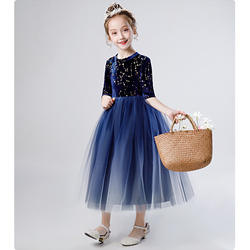 children middle long sleeve long dress puffy net yarn flower girl dress