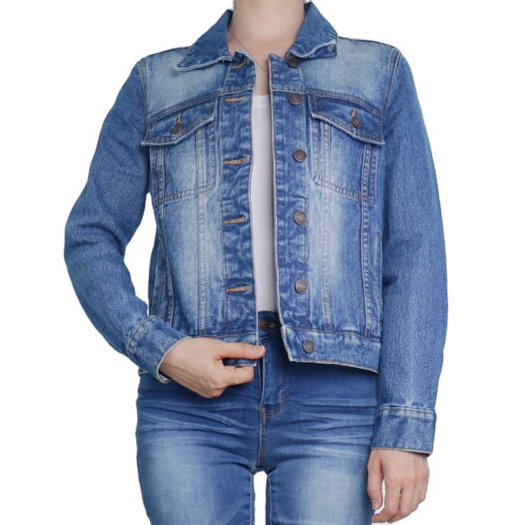 Blue denim jacket women short jean denim coat ladies bike jackets woman apparel