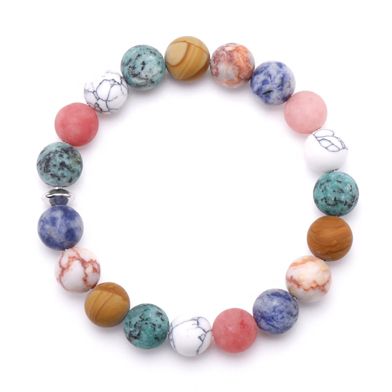 Exclusive design natural frosted stone women wrist round beaded bracelet