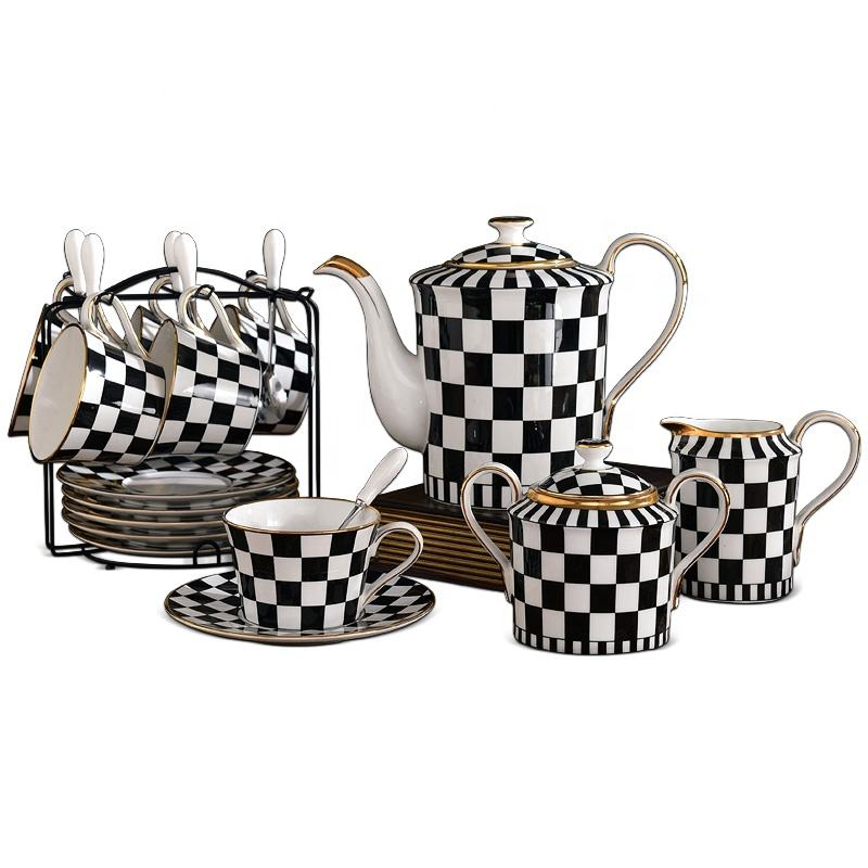 Delicate Black And White Design 15pcs Ceramic Tea Set Bone China Teapot Tea Sets Porcelain Coffee Cup And Saucer Cup Ceramic