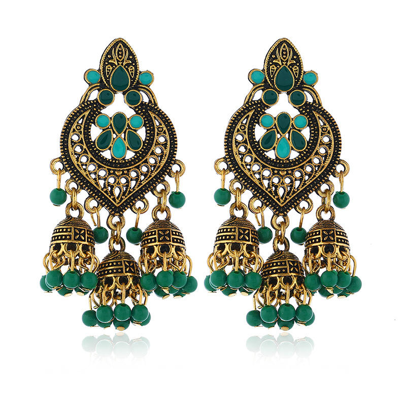 MINHIN Indian Oxidized Silver Beads Chandelier Silver Polki Jhumki Jhumka Earrings