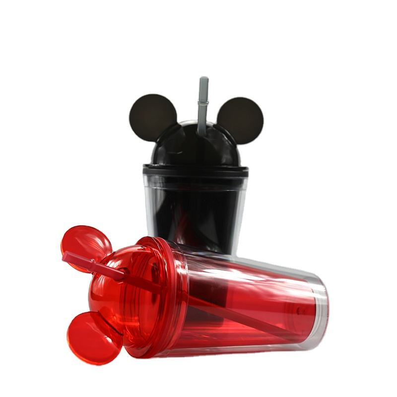 2020 Hot Selling Summer Clear Acrylic Mickey Mouse Ear Tumbler Double Walled Plastic Mugs