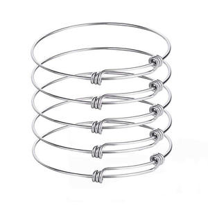 Stainless Steel Adjustable Wire Blank Bangle Bracelet Expandable Bangle for Jewelry Making