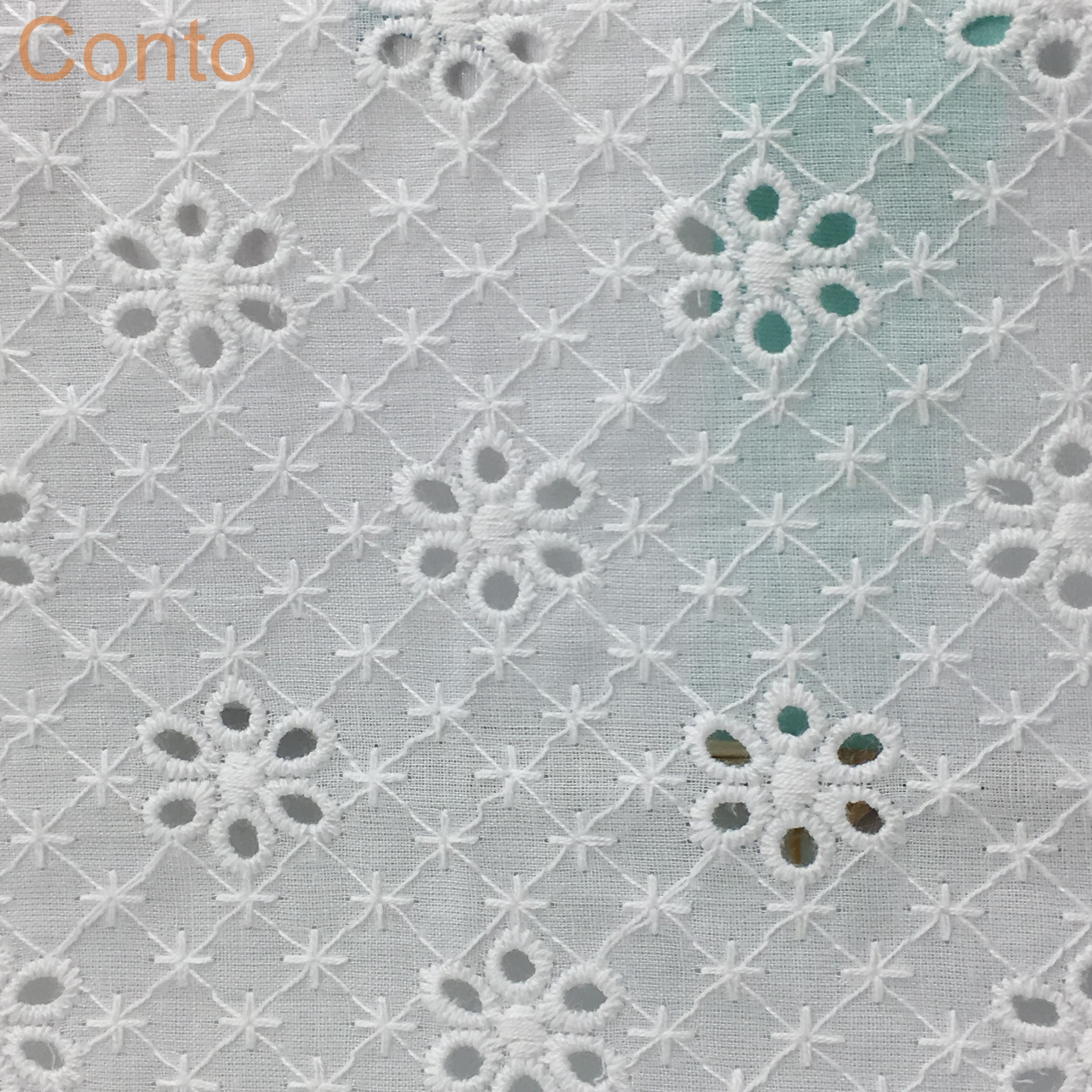 COF0572 Six hole with dot Voile embroidery cotton crochet lace fabric