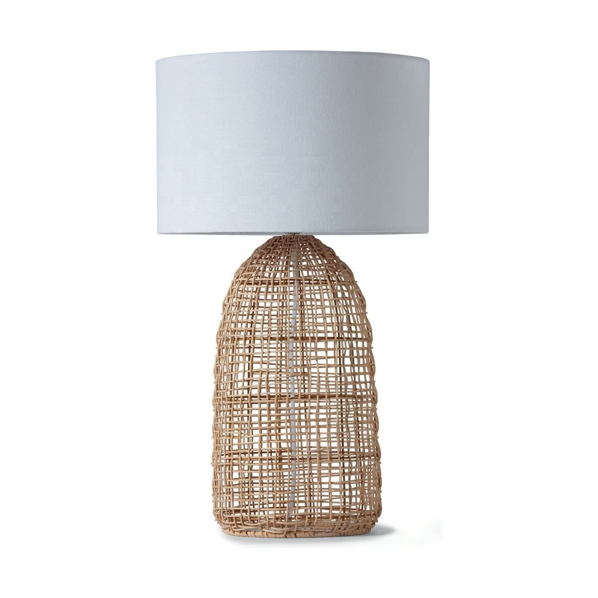 JLT-R12 Natural Rattan Bamboo Base Table Lamp For Restaurant Coffee Shop