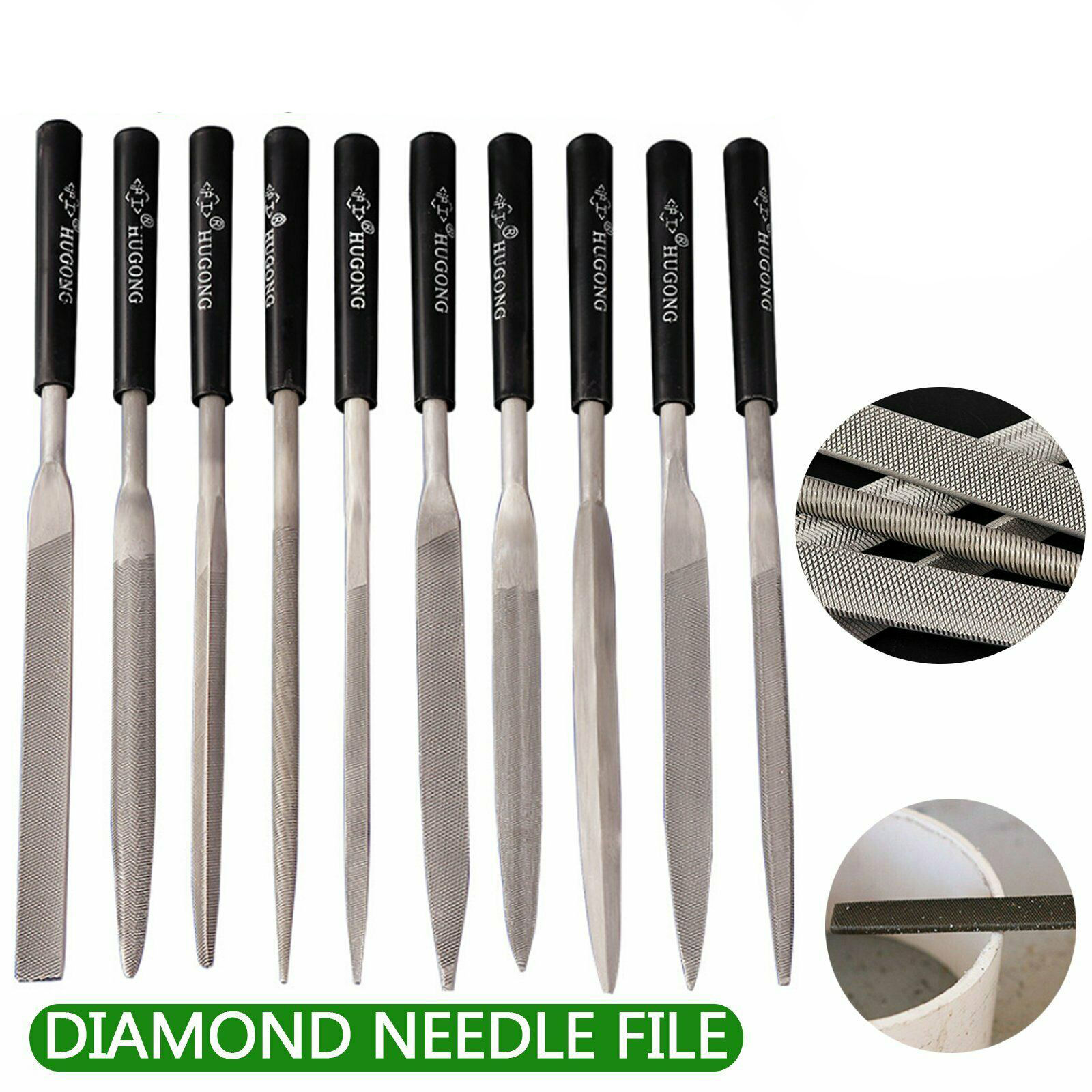 Set Of 10 160x4mm Diamond Mini Needle File Set For Metal Jeweler Wood Carving Craft