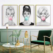 Audrey Hepburn Bubble Gum Wall Art Canvas Fashion PostersMonroe Prints Painting Pictures Home Decor