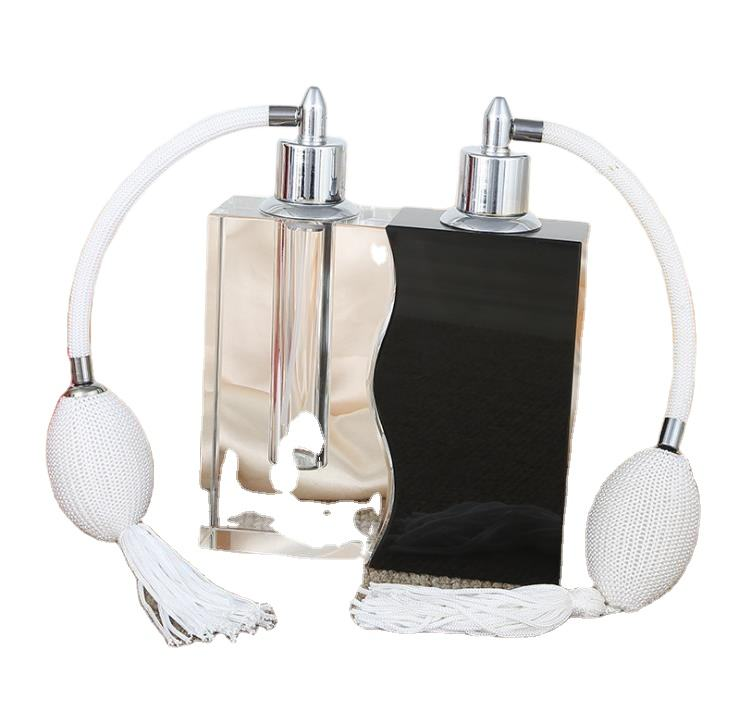 Hoogwaardige Elegante Zwart En Wit Glas Decoratieve Parfum Fles Retro Air Bag 30Ml Parfum Fles 2 In1 set