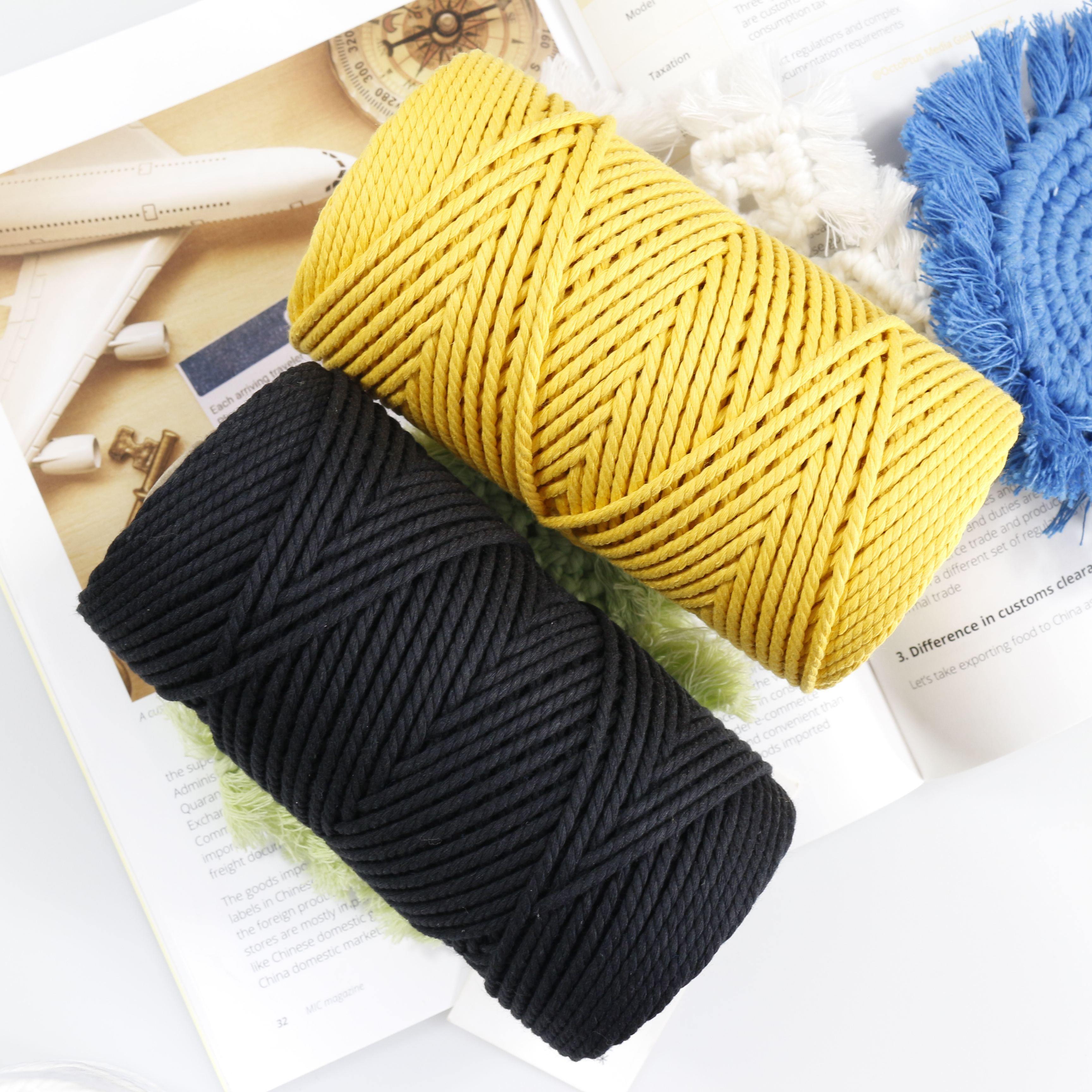 3ミリメートル4ミリメートル5ミリメートル6ミリメートルTwist Rope Macrame Cotton Cord Multi Color Drawstring Rope