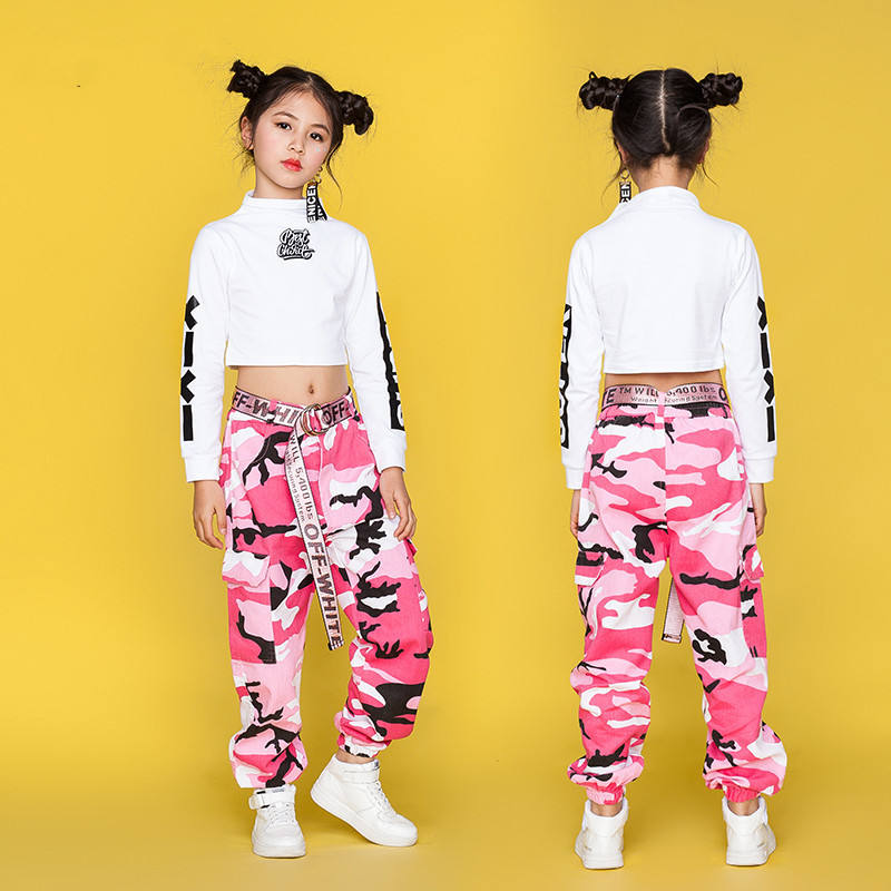 Jazz Dance Costume For Girls Hip Hop Street Dancing Costumes Vest Pants Kids Performance Dance Clothes