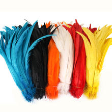"14-16"" Bleached and Dyed long colorful cheap sale carnival Rooster cock Tail Feathers for clothing decoration"