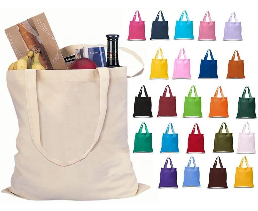 General design colored standard size long handle cotton canvas tote bag