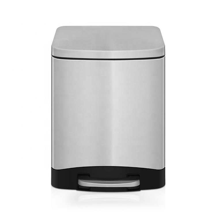 Home decor rectangle foot step stainless steel airtight trash can
