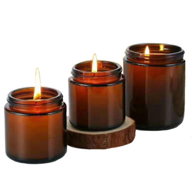 150ml250ml300ml factory price straight side amber color glass candle jars