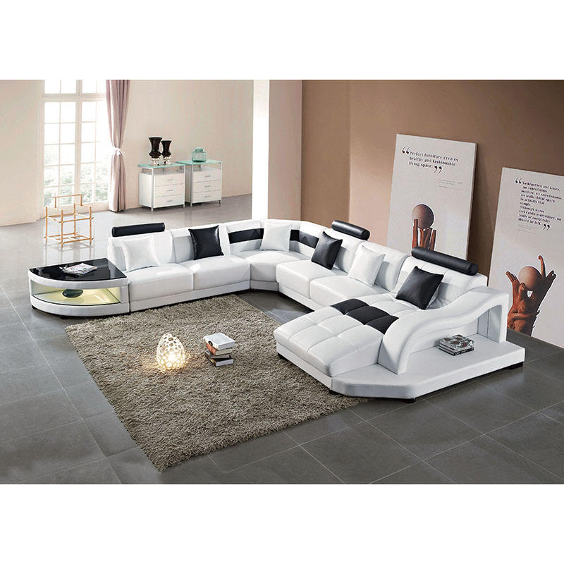 modern best sale living room furnitures sofas designs white u shape sectional leather sofa with led light