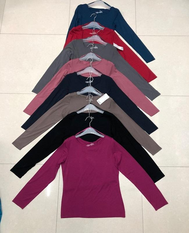 lady's tshirt stock apparel long sleeve women T-shirt wholesale apparel stock