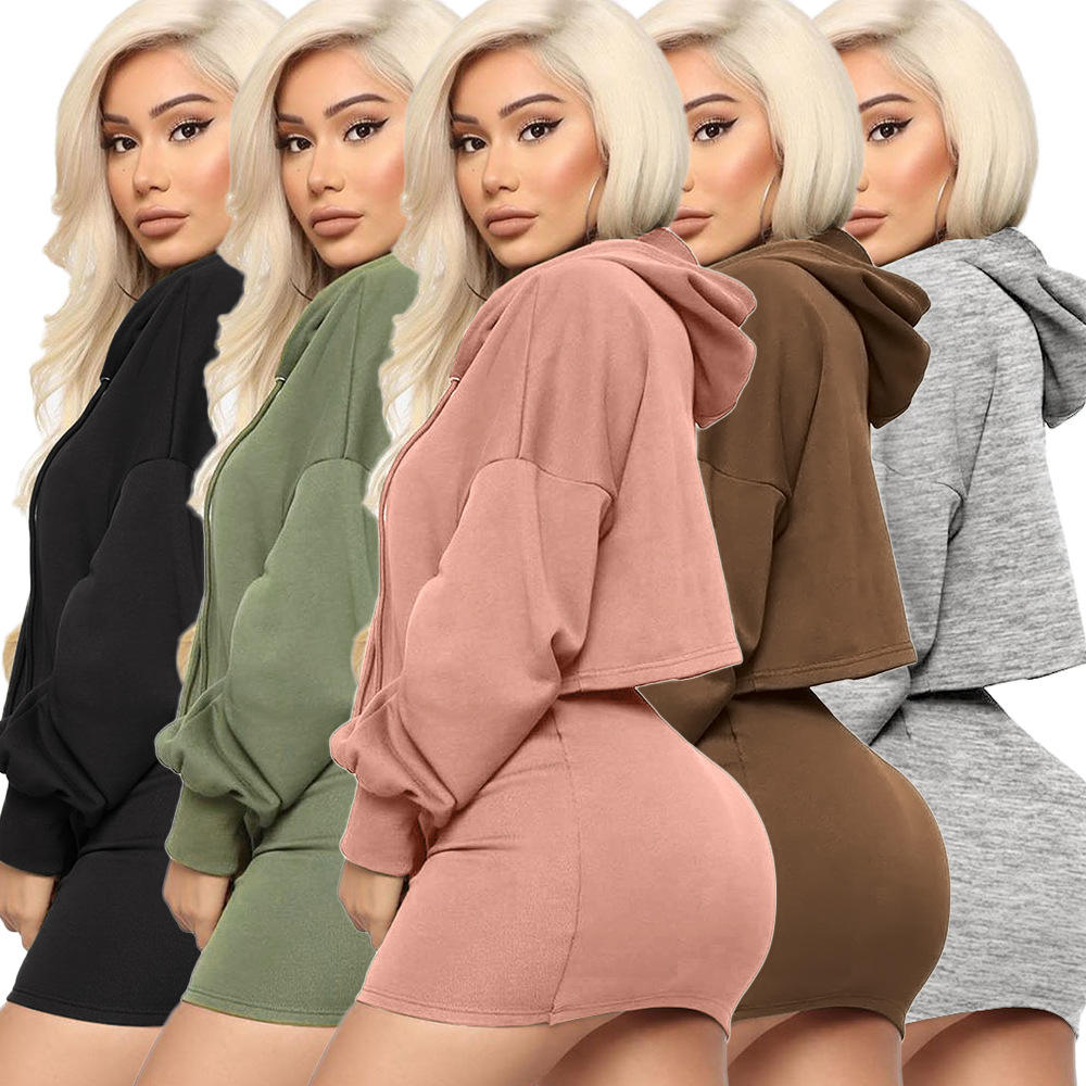 2020 fall wholesale clothes loose crop tops Bodycon dress Women's Hoodies & Sweat sexy winter clothing casual wear two piece set