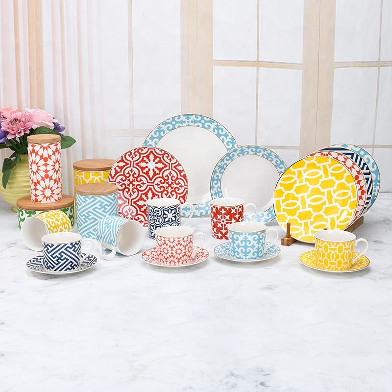 Wholesale Porcelain Tableware Set Ceramic Colorful Dinnerware Customized Supplier