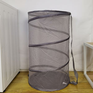 Custom Collection Pop-up Mesh Clothes Hamper Laundry Basket Bag For Home Storage