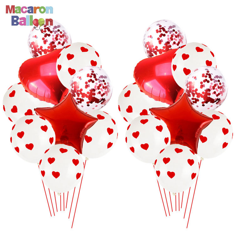 Latex Balloons for Party Red & White Heart Balloons Anniversary Decorations Valentines Birthday Girl Baby Shower K312