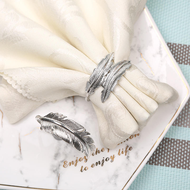 High quality Metal Silver feather party wedding napkin ring