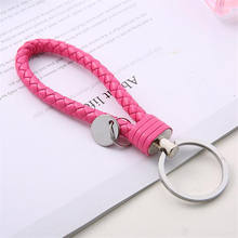 Leather Braided Woven Keychain Rope Rings Fit DIY Circle Pendant Key Chains Holder Car Keyrings