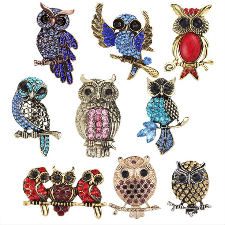 High-grade diamond owl brooch clothing fashion accessories brooch men and women unisex brooch pin