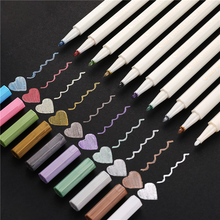 TOMART Colors Metallic Marker Pen Set DIY Scrapbooking Crafts Card Making Round Head Art Pen for Drawing