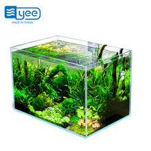 Super white fluorescent square table aquarium fish tank rectangle super transparent glass ecological fish tank