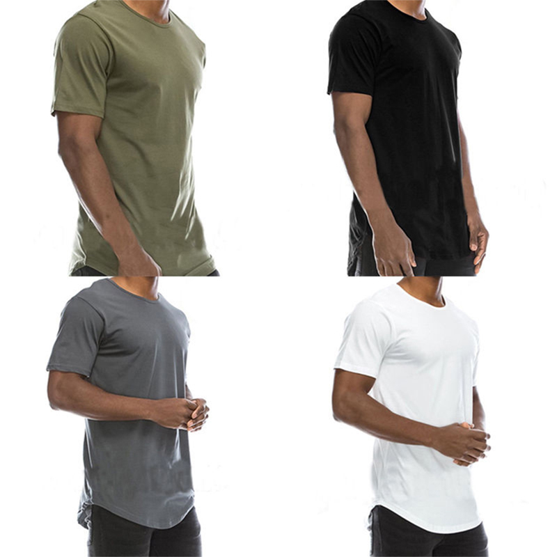 New Fashion Long Length Tshirt Men Cotton Plain Extra Long Curved Hem Scoop Bottom T Shirts