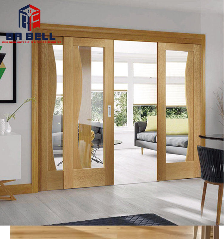 Patio Beautiful Glass Wooden Door Design Oak Wood Frame Sliding Entrance Bifold Customized Inner Doors