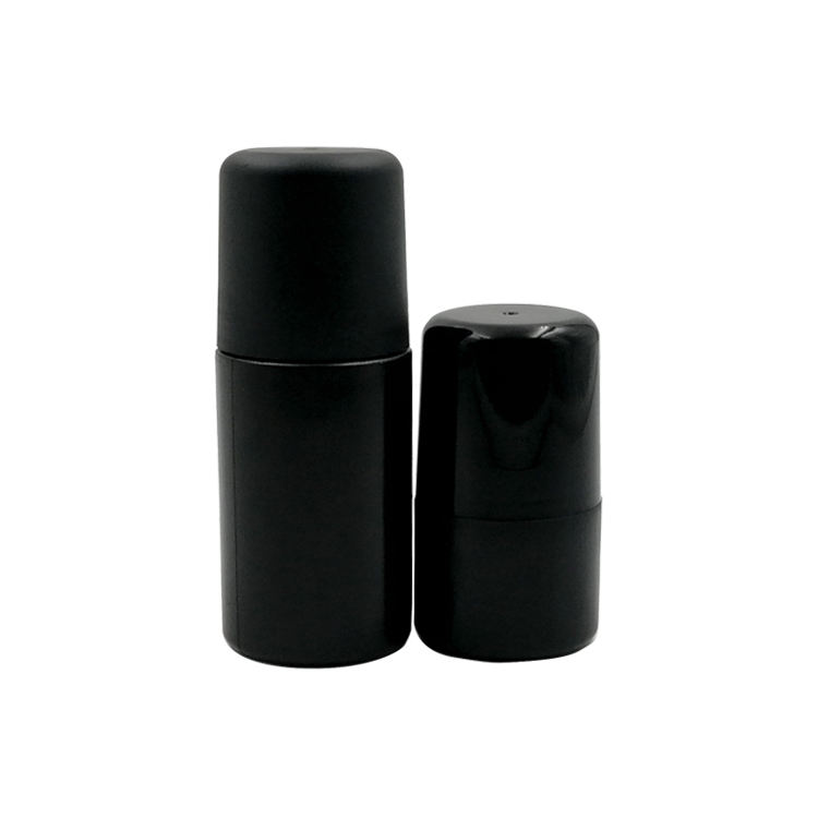Beauty packaging 30ml roll on deodorant bottle black color with plastic roller ball
