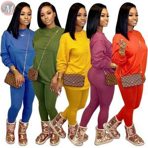 9110432 best price solid candy color loose hoodie casual trouser Two Piece Set Women Clothing Women Joggers Suits Set
